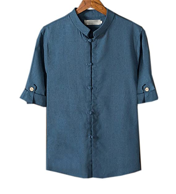 COCO clothing Verano Camisa Hombre Lino Blusa Caballero Tops Cuello Mao Casual Camiseta Estilo de China