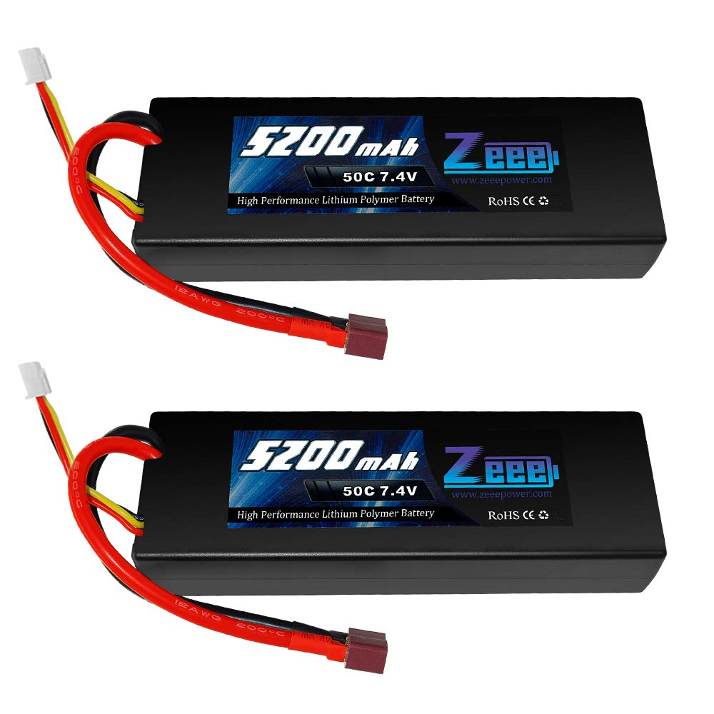 Zeee 2s Lipo Battery 7.4V 50C 5200mAh RC Lipo Batteries Hard Case with Dean-Style T Connector for RC Vehicles Car,Trucks(2 Pack)