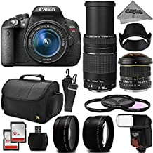 Canon EOS Rebel T5i Digital SLR Camera + 6.5mm Fisheye + 75-300mm + 18-55mm + 64gb Memory + Flash + Deluxe Bag + Filter Kit + Cleaning Kit + Hood + Card Reader + Telephoto + Wide Angle Macro Lenses