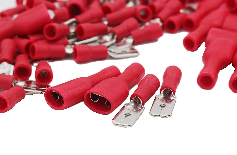 Grapelet Kabelschuhe x 100 - Flachstecker Rot x 50 / Flachsteckhülsen Rot x 50 - Steckmaß 6,3 mm, Quetschverbinder, Isolierte - Für Kfz, Elektronik und Hobby - KOSTENLOSER VERSAND!