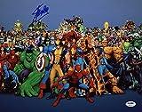 #7: Stan Lee Signed Marvel Comics Universe Cast 11X14 Blue Photo PSA/DNA