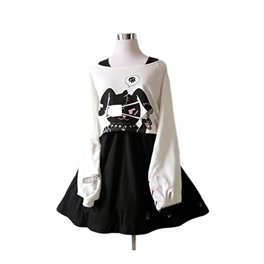Black Comic Rabbit Dress Teens Girls 2 Pcs Suit Sweet Cotton Dress
