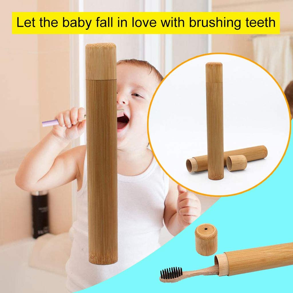 FiedFikt Natural Bamboo Toothbrush Holder,Toothbrush Case,Anti Bacterial Portable Toothbrush Storage Box Toothbrush Protector for Travel A*1 pc Camping School