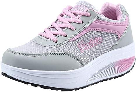 Deportivas de Mujer, yanhoo Classic Mujer Deportivas Zapatos de gimnasia deportiva running tenis Foundation, Zapatillas de gimnasia para mujer, zapatillas a Balancín Dal Fondo Suave, zapatos con elevador de red rosa Rosa