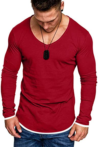 Men/'s Casual Slim Fit Long Sleeve T-shirt Gym Basic Blouse Tee Muscle Tops New