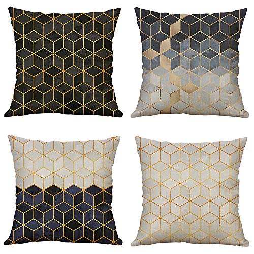 (Pack of 4 MUILEE Decorative Three-Dimensional Small Diamond Throw Pillow Unique Design Covers Cushion Case Outdoor Shell Pillow Case for Car Sofa Bed)