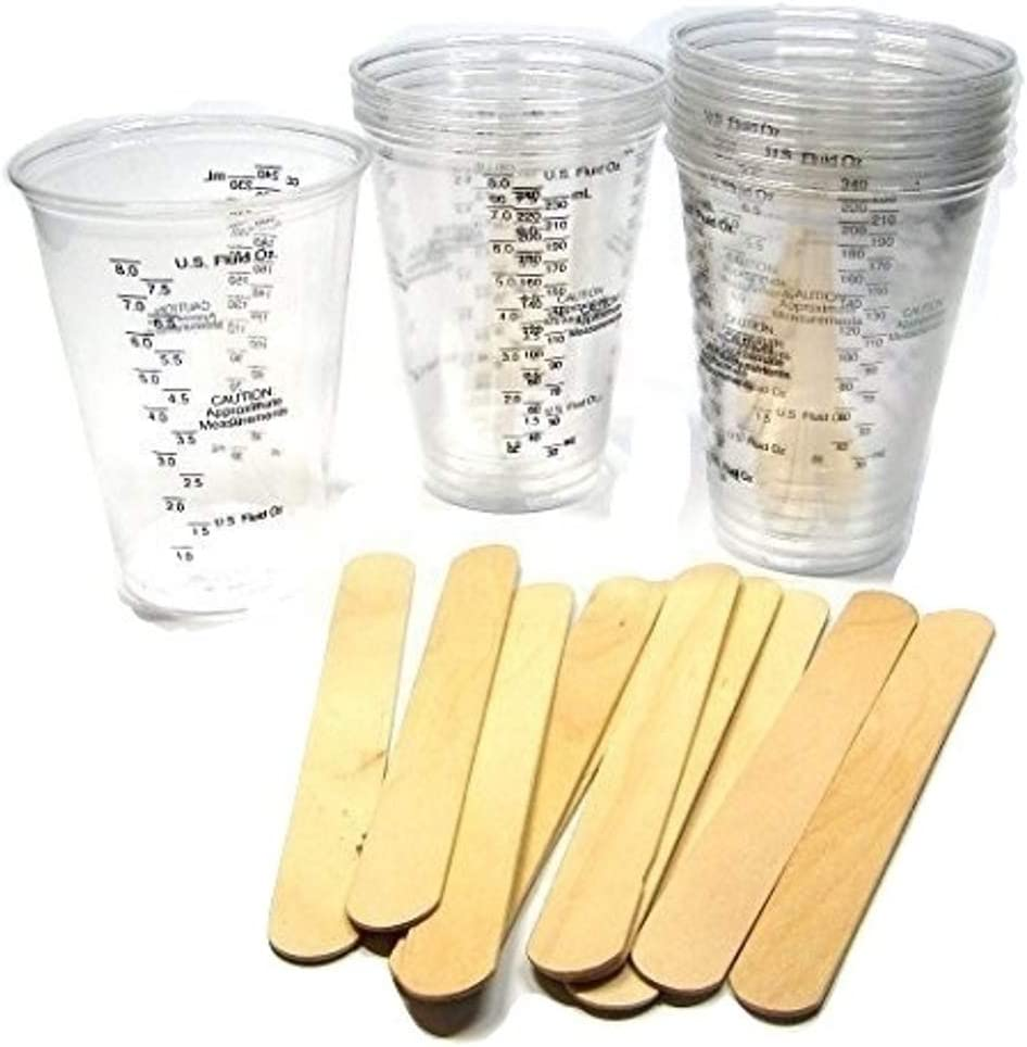 10 oz graduated mixing cups /& stir sticks epoxy casting resin 10 cups+10 sticks