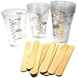 "10 NSI 8oz Disposable Graduated Clear Plastic (PET) Cups and 10 6"" Wood Stir Sticks for Mixing Paint, Stain, Epoxy, Resin"
