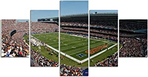 Soldier Field Framed Wall Art Decor Modern Art Paintings 5 Piece Canvas Home Decoration Chicago Bears Wall Picture Home Artwork American Football Prints Poster Ready to Hang(60''Wx32''H)
