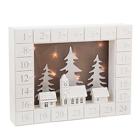 3cb3dbdf7ae PIONEER-EFFORT LED Calendario de Adviento de Madera de Navidad Blanca  Decorativa con 24 cajones