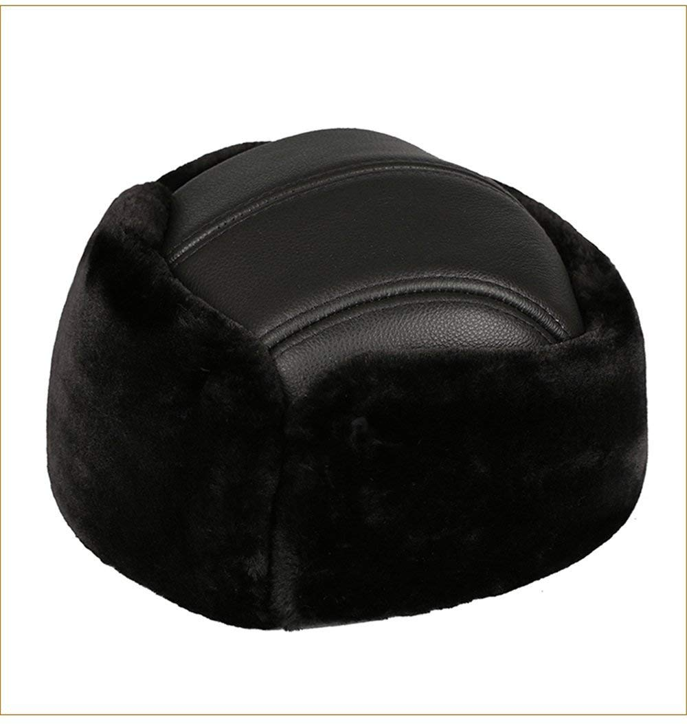 Thundertechs The Girlfriend Boyfriend Women's Leather Old Man hat Male Winter Men Middle-Aged Ladies General Warm hat (Color : Black, Size : L (56-57cm))