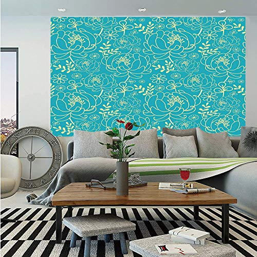 SoSung Yellow and Blue Wall Mural,Classic Floral Twig Leaves Blooms Petals Essence Flowers Design Decorative,Self-Adhesive Large Wallpaper for Home Decor 83x120 inches,Turquoise Light Yellow ()