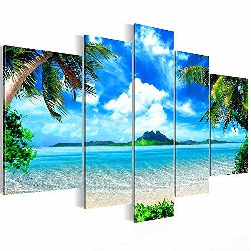 Bilder-Kunstdrucke-Prestigeart-6033527a-Bild-auf-Vlies-Leinwand-Paradise-Insel-170-x-100-cm-5-teilig