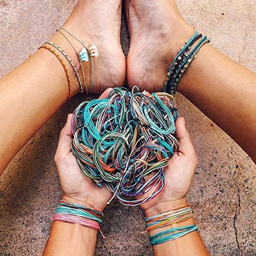 Pura Vida Rose Gold Stitched Beaded Anklet Adjustable Waterproof Artisan Handmade Fashion Jewelry for Girls//Women Threaded