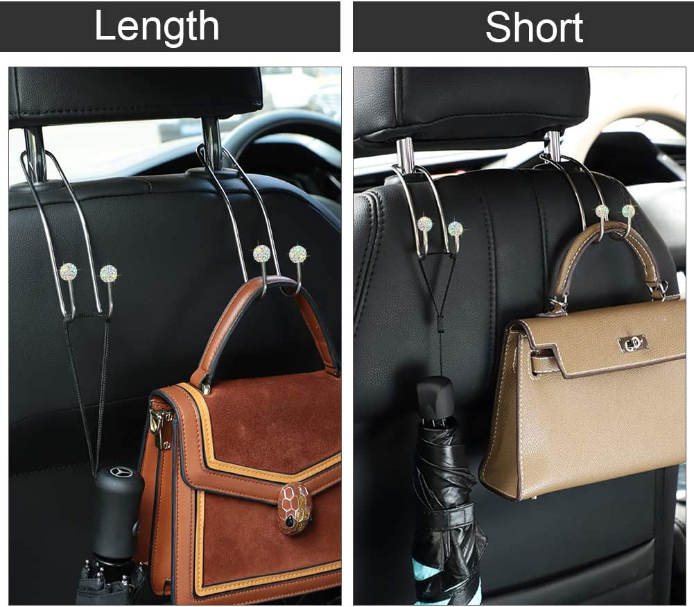 Bling Crystal Auto Back Seat Hook Hangers for Clothes Handbag with Engine Start Button Decoration OTOSTAR 4 Pack Extended Car Headrest Hooks Silver