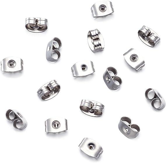 100pcs Stainless Steel Ear Nuts Earrings Findings For Jewelry Making 5x3.5x2mm