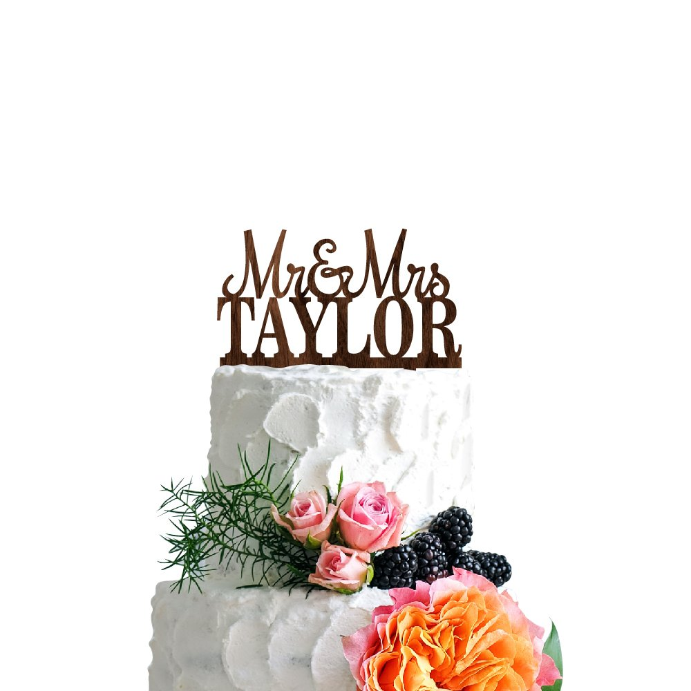 P Lab Personalized Cake Topper Mr. Mrs. Last Name Custom Wedding Cake Topper Rustic Wood Decoration Keepsake Engagement Favors for Special Event Walnut Wood