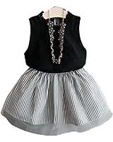 2017 Summer Kids Baby Girls Sleeveless Blouse T-shirt +Stripe Short Skirt Set Children Skirt