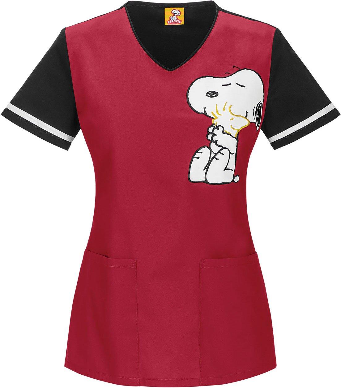 Tooniforms 6792 Women's V-Neck Top Hug Me Snoopy Black Medium