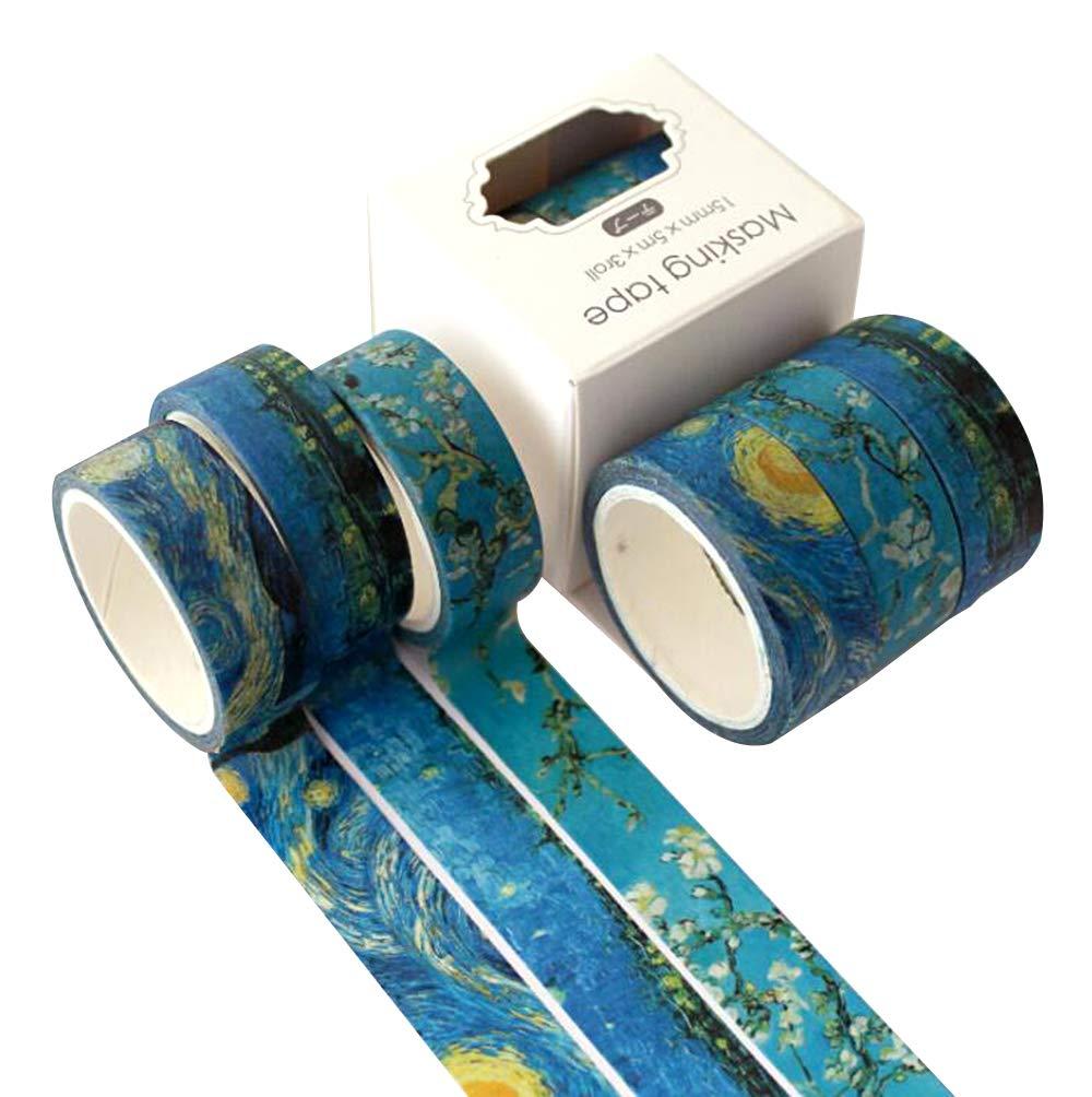 TAPEPRO Art Deco Washi nastro adesivo set 3 rotoli 15 millimetri Van Gogh cielo stellato giapponese decorativo Craft nastro collezione per scrapbooking e telefono fai da te, Craft adesivo forniture scolastiche (blu) TAPEPROA