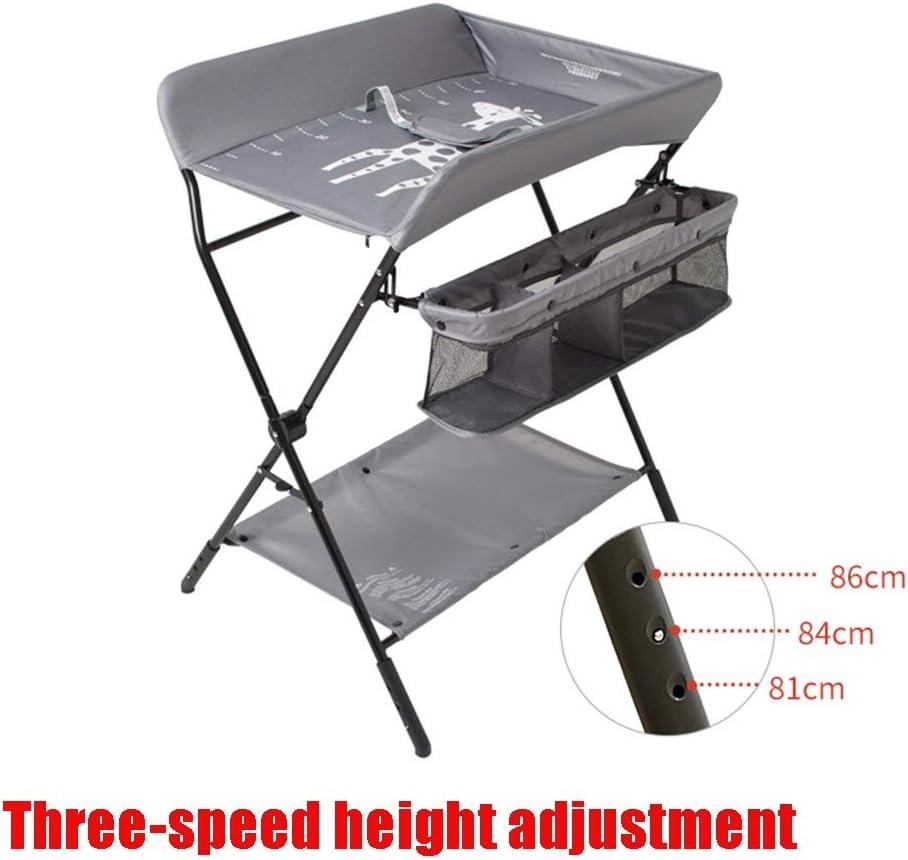 おむつ替え用テーブルおむつ替え用テーブルドレッサー、サイドポケット、下収納かご、乾燥ラック、三段ギヤ適応、折りたたみ式 (Color : Gray)