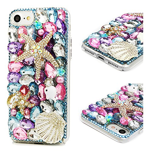 iPhone 8 Case, iPhone 7 Case, Mavis's Diary Full Edge 3D Handmade Luxury Bling Crytal Shiny Gem Pearl Rhinestone Diamond Clear Hard Protective Plastic PC Cover - Starfish Shell ()
