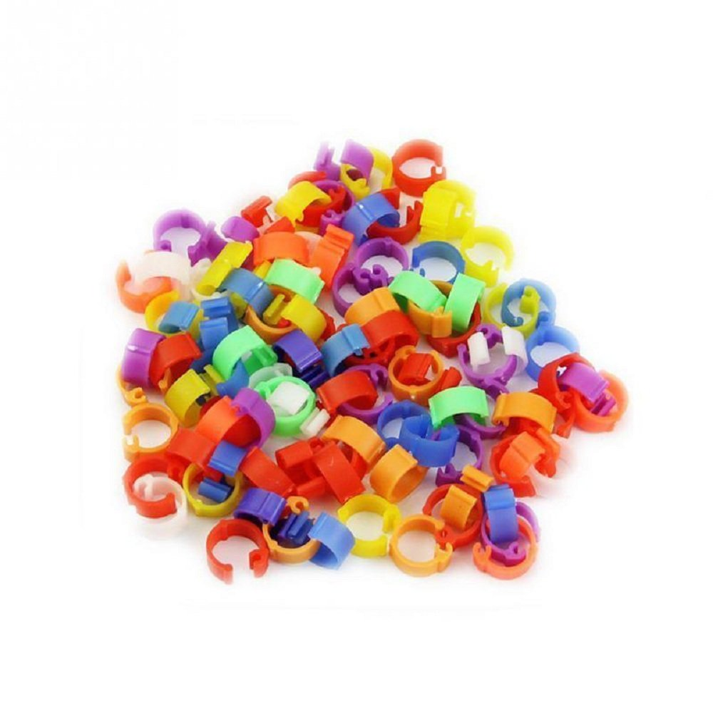100pcs x 20mm Random Color Clip On Leg Rings Bird Foot Rings for Chickens, Ducks, Hens, Poultry, Large Fowl,Bird, Chicks goodxy