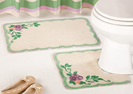 Merveilleux 2 Pc. Victorian Flower Bouquet Bathroom Rug Set