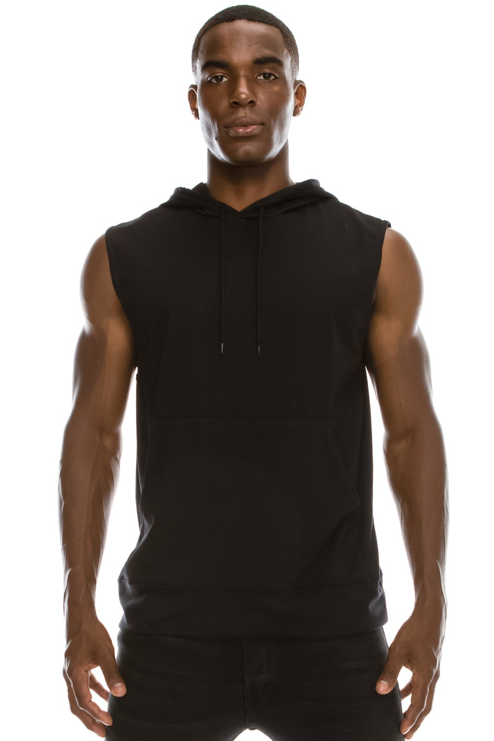 JC DISTRO Mens Hipster Hip Hop Active Lightweight Sleeveless Black Hoodie Large