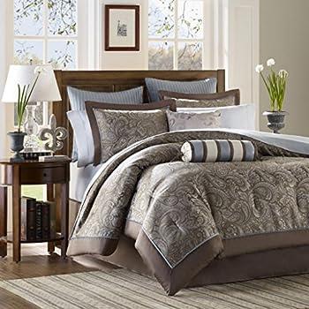 "8pcs Modern Black White Grey Luxury Stripe Comforter (90""x92"") Set Bed in Bag - Queen Size Bedding best"
