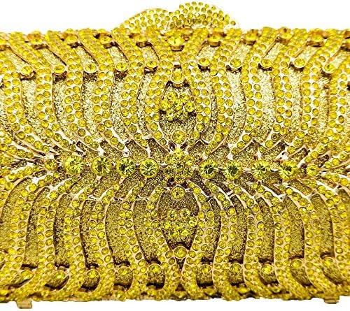 XLJJB Jaune Diamant Femmes Soirée Minaudière Sac Métal Cristal Embrayages De Mariage Sacs À Main De Noce Cocktail Bag Petite Embrayage Jaune Sac en Cristal