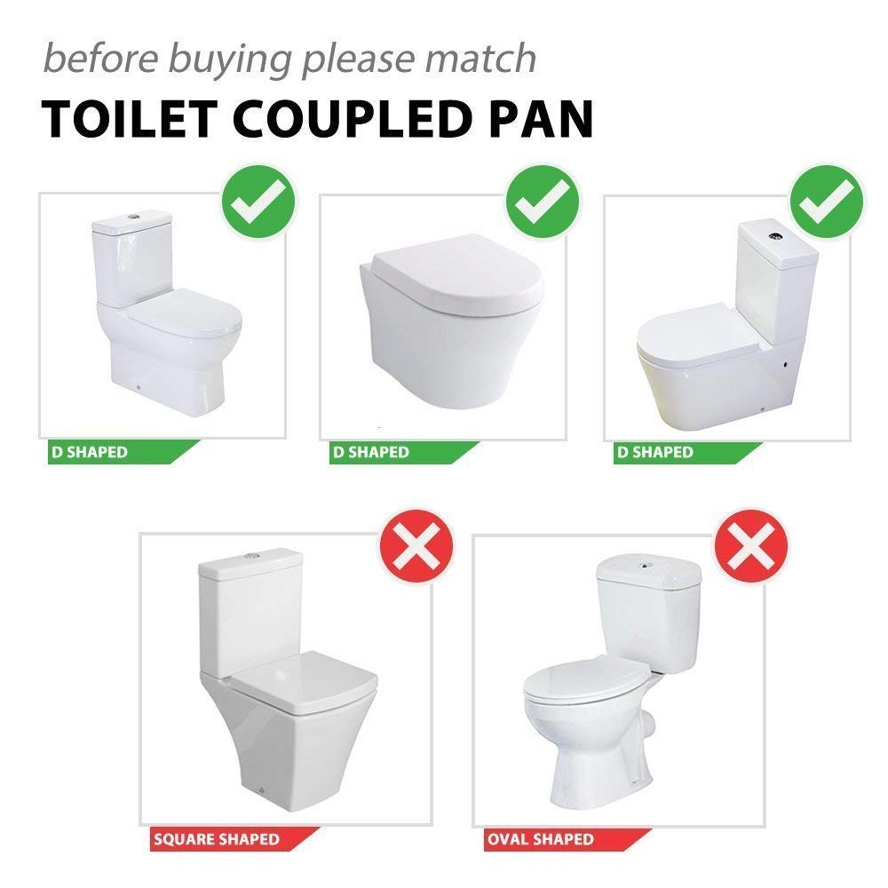 Anti-Bacterial Toilet Seat Soft Close Quick Release Loo D-Shaped White UF Urea-Formaldehyde Material By MASS DYNAMIC /®