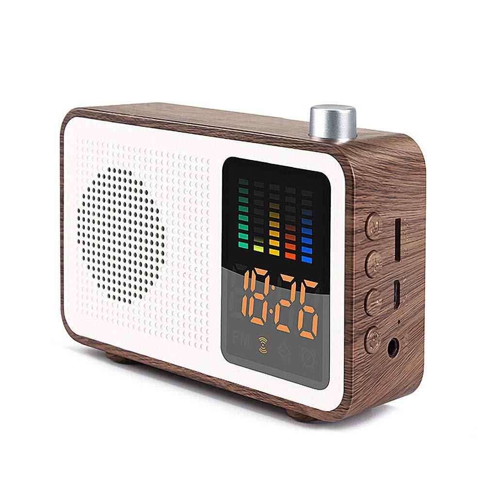 Mitrc Radio-réveil Numérique FM Alarme Radio Horloge Port de Charge USB, Affichage à LED, gradateur, minuterie d'arrêt, Sauvegarde de la Batterie, Chambres, Tables,Walnut Affichage à LED minuterie d'arrêt