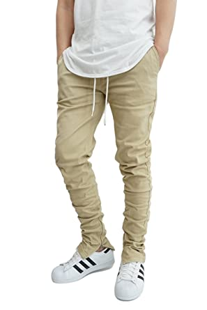 2019 discount sale purchase genuine select for clearance KDNK URBANJ Men's Khaki Twill Tapered Ankle Zip Skinny Jogger Pants