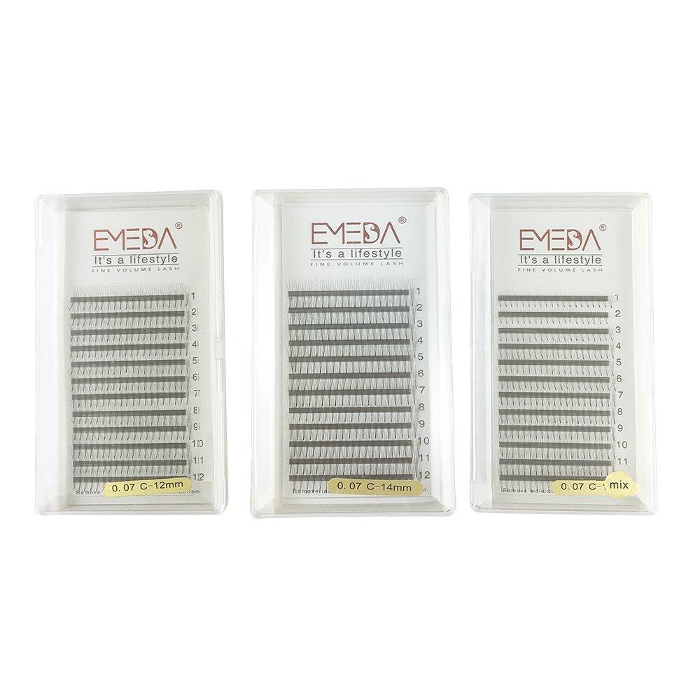 3D W Volume Cluster Eyelash Extension False Eyelashes 0.07 C Curl 8-14Mix/12/14MM 3Trays EMEDA
