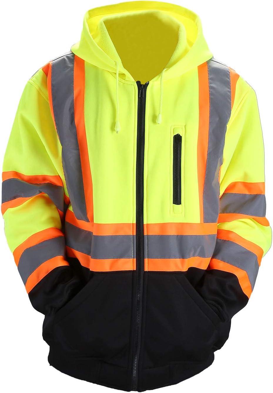 FONIRRA Hi-Viz Safety Full-Zip Hoodie Sweatshirt with Black Bottom,High Visibility ANSI Class 3 Fleece Hooded Jumper Workwear for Men Yellow,S
