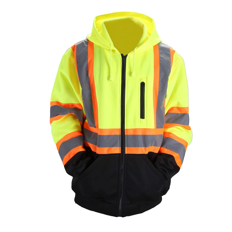 Orange,XL FONIRRA Hi-Viz Safety Full-Zip Hoodie Sweatshirt with Black Bottom,High Visibility ANSI Class 3 Fleece Hooded Jumper Workwear for Men