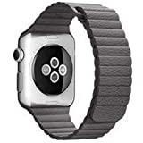 Genuine leather watch strap Compatible with smart watch Sizes Apple Watch 42mm 44mm gray