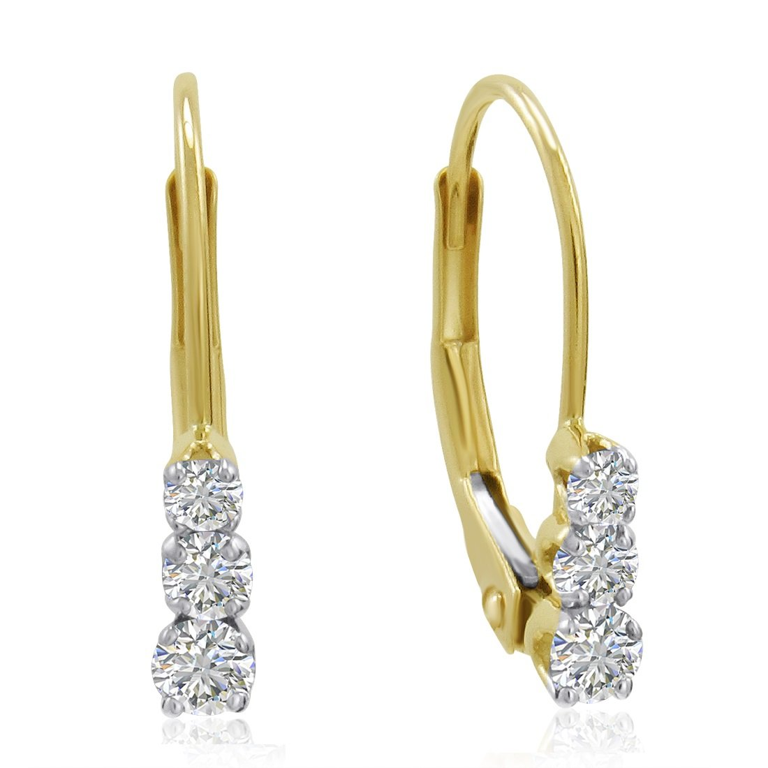 AGS Certified 10K Yellow Gold Three-Stone Diamond Leverback Earrings 1/4cttw