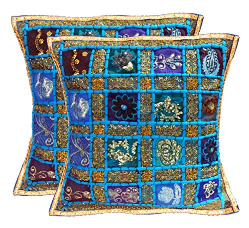 Ethnic Hand Embroidery Sequin Patchwork Indian Sari Throw Decorative Silk Pillow Cushion Cover Set of 2 Pcs - 16 X 16 Inches / Customized Design to stand out of the Crowd