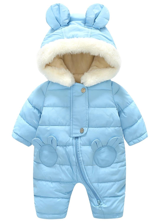 Amazon.com: Happy Cherry Unisex Baby Hooded Winter Puffer Snowsuit Warm Zip Up Long Sleeve One-Piece Coat: Clothing