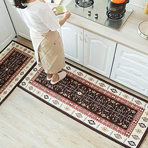 - Ukeler Kitchen Rug Set Bohemian Jacquard Non-Slip Kitchen Mat and Rug Decorative Comfortable Runner Rug Set for Kitchen and Bathroom, Machine Washable (19.6''×31.5'' + 17.7''×47.2'', Brown)