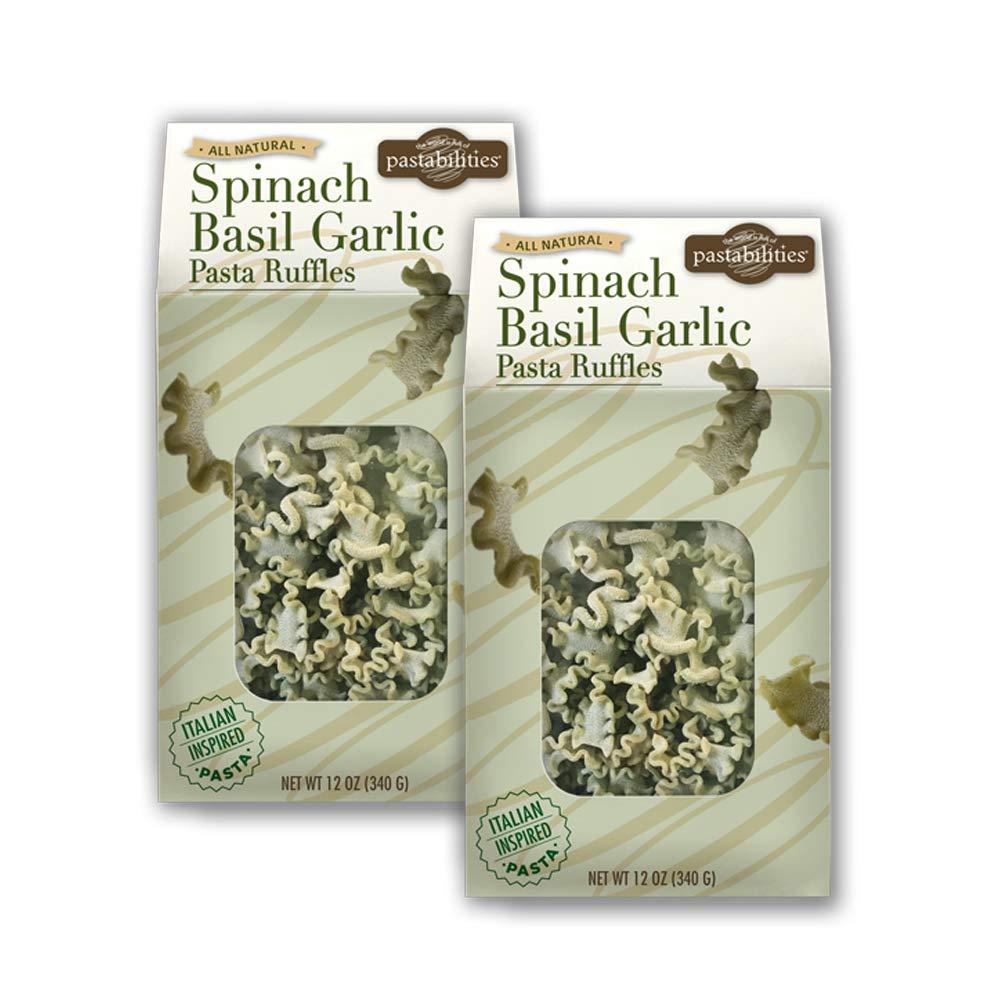 Pastabilities Spinach Basil Garlic Pasta Ruffles, Healthy Gourmet Shaped Noodles, Non-GMO Wheat Pasta (12 oz, 2 Pack)
