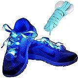 Onlylove - Lacci per scarpe in nylon con LED di sicurezza, lacci riflettenti impermeabili in silicone piatti, da utilizzare per vari sport all'aperto e anche come fascia da braccio