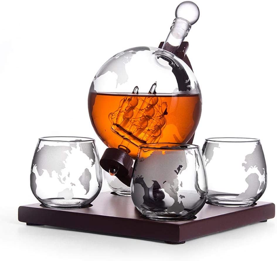 Set di decanter di whisky con set di 4 bicchieri di whisky con globo inciso con supporto in legno,Awhao NUOVO regalo 2020 per liquore Scotch Bourbon Vodka