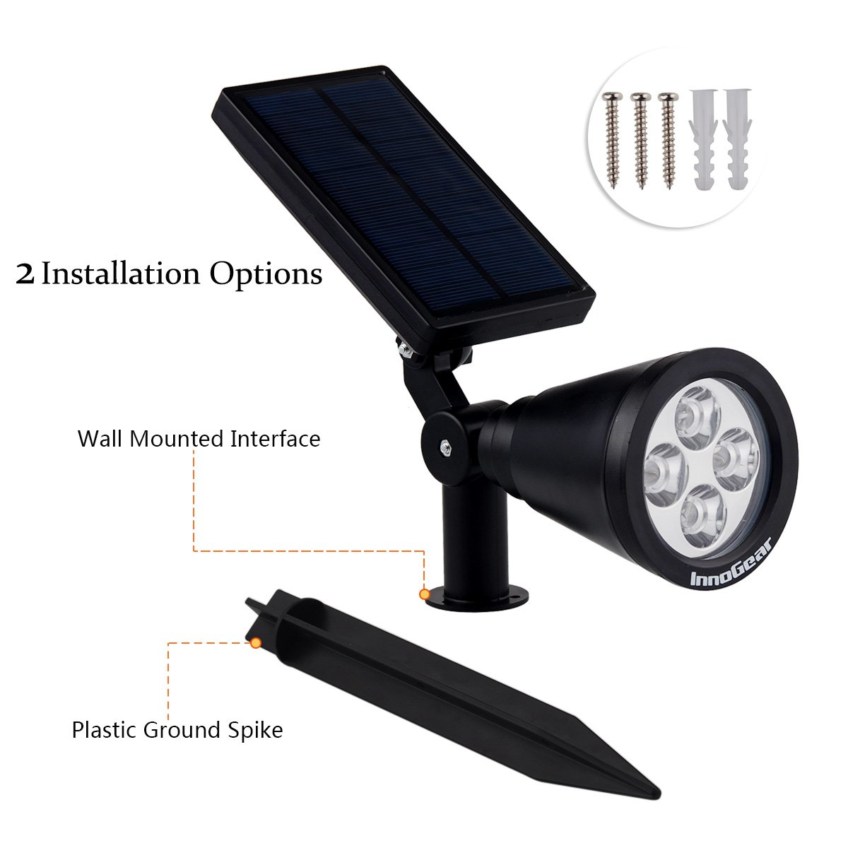 innogear upgraded solar lights 2in1 waterproof outdoor landscape lighting spotlight wall light auto onoff for yard garden driveway pathway pool