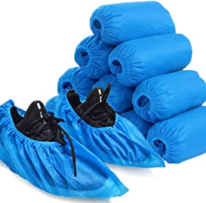 Shoe Covers Disposable Non Slip, Non Woven Fabric Boot Covers for Indoors 100 Pack (50 Pairs)