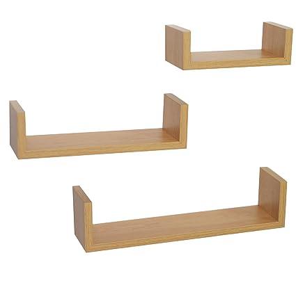 official photos cd8b4 4a333 3 Display U Shape Floating Wall Shelves: Oak