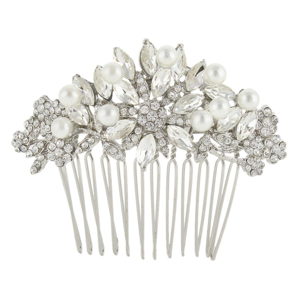 EVER FAITH Silver-Tone Austrian Crystal Cream Simulated Pearl Bridal Lots Leaves Flowers Hair Comb Clear
