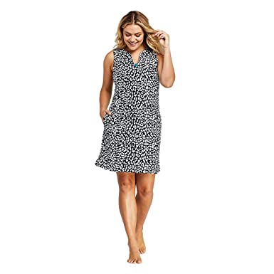 d383834a7047c Lands  End Women s Plus Size Cotton Jersey Sleeveless Tunic Dress Swim Cover -up Print at Amazon Women s Clothing store